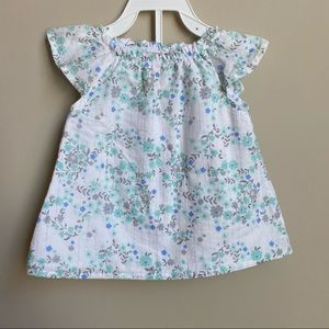 2 pc floral baby girl top and shorts 3-6m